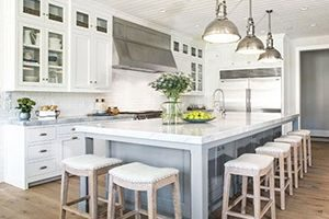 kitchen island with stools