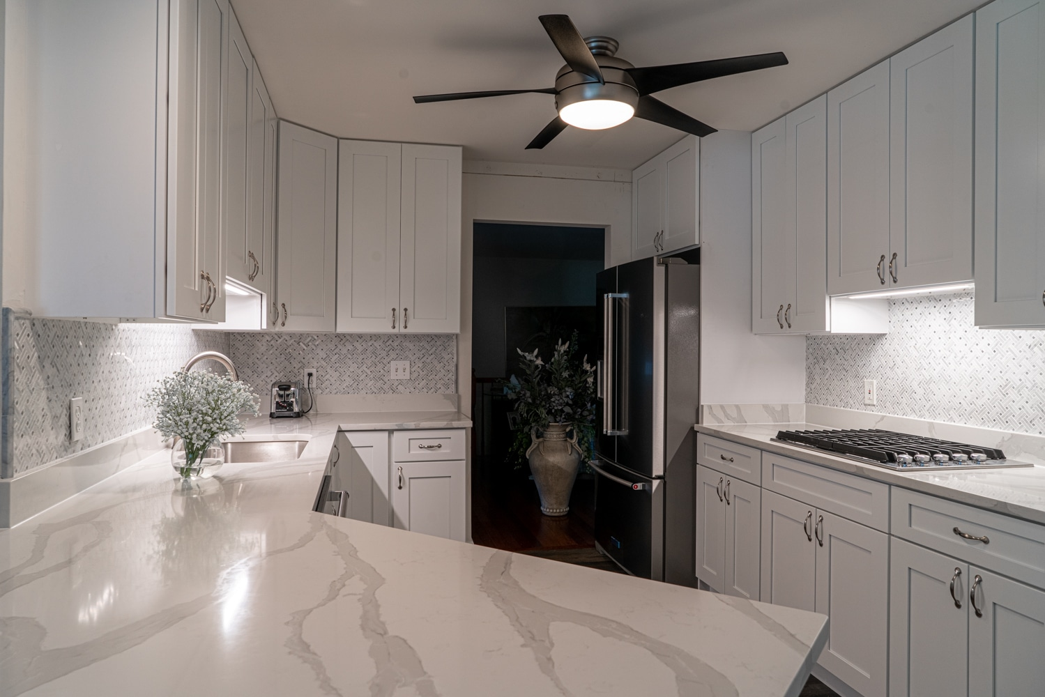kitchen with marble countertop